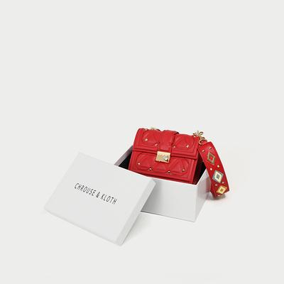 回馈老顾客 小ck包包女新款2019时尚百搭镶钻斜挎包宽带真皮小包