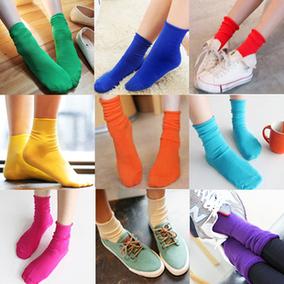 韩国糖果色袜子  彩色纯棉袜松口堆堆袜 卷边短筒袜可爱女袜