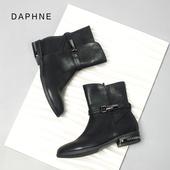 马丁靴侧拉链短靴子 Daphne 明星款 中筒靴女 达芙妮冬切尔西靴时尚