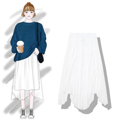 香蕉芭那那  2018新款秋装纯色百搭大裙摆拼接中长蓬松网纱半身裙