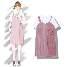 芭那那  店主自留推荐敲好看的宽松百搭格子条纹拼接假两件连衣裙