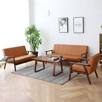 Nordic simple single leather art small apartment simple sofa double three-person coffee shop sofa Japanese style bedroom sofa