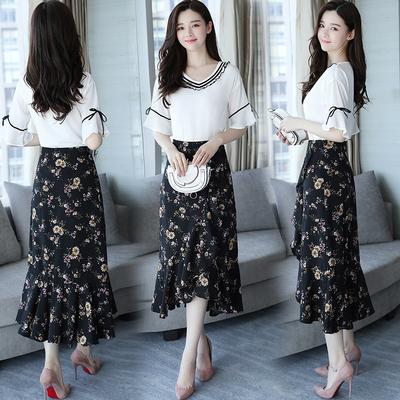 裙子女2019新款春夏两件套韩版显瘦半身裙V领碎花雪纺连衣裙长裙