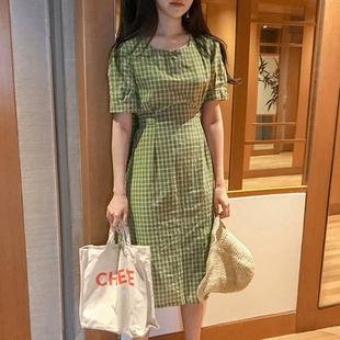 韩系ins人气款 复古甜美减龄方领收腰显瘦系带短袖中长格子连衣裙