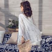 刺绣流苏披肩外套夏季泰国度假海边沙滩防晒衣女中长款薄蕾丝开衫