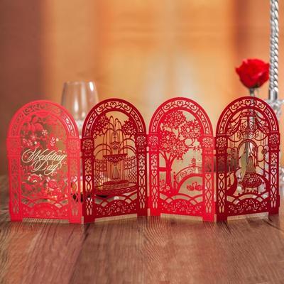 请柬中国风镂空婚礼邀请函定制打印中式喜帖请帖结婚创意2018高档