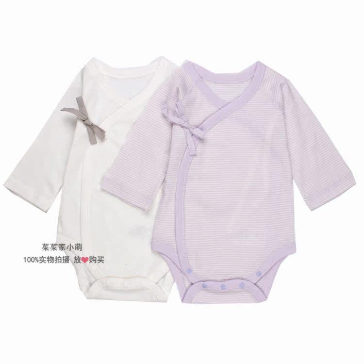 现货 日本本土千趣会春夏装新生婴儿长袖包屁哈衣 3-6M打底衣2件