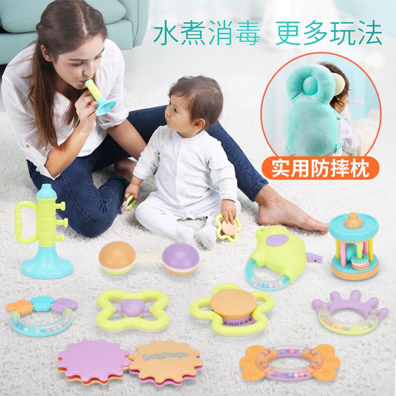 娃娃博士宝宝玩具0-1岁牙胶手摇铃可咬水煮新生3-6-12个月男孩5
