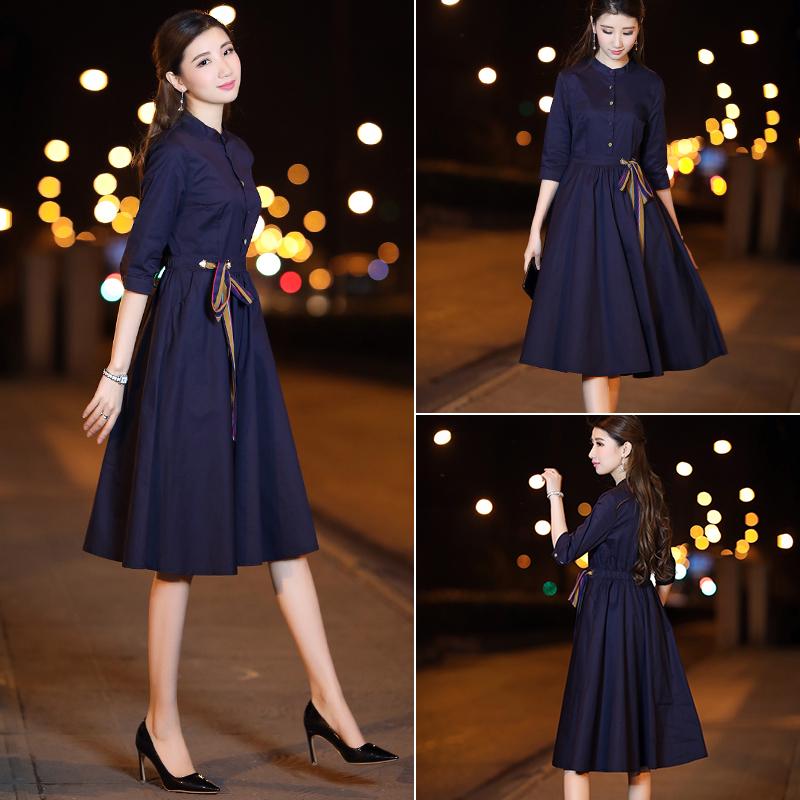 深蓝修身连衣裙