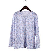 纯棉女士薄款长袖开衫线衣系扣子单件上衣全棉家居服睡衣大码秋衣