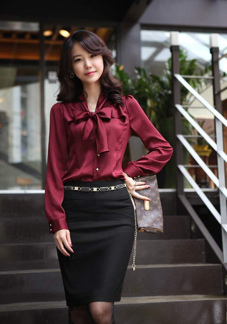 High quality spring and autumn new Korean version of the bow female long-sleeved shirt casual fashion bottoming