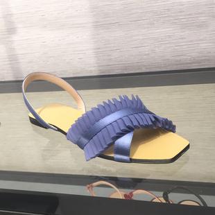 小CK女鞋凉鞋2018新款夏CK1-70480062欧美风网纱装饰露趾平底鞋