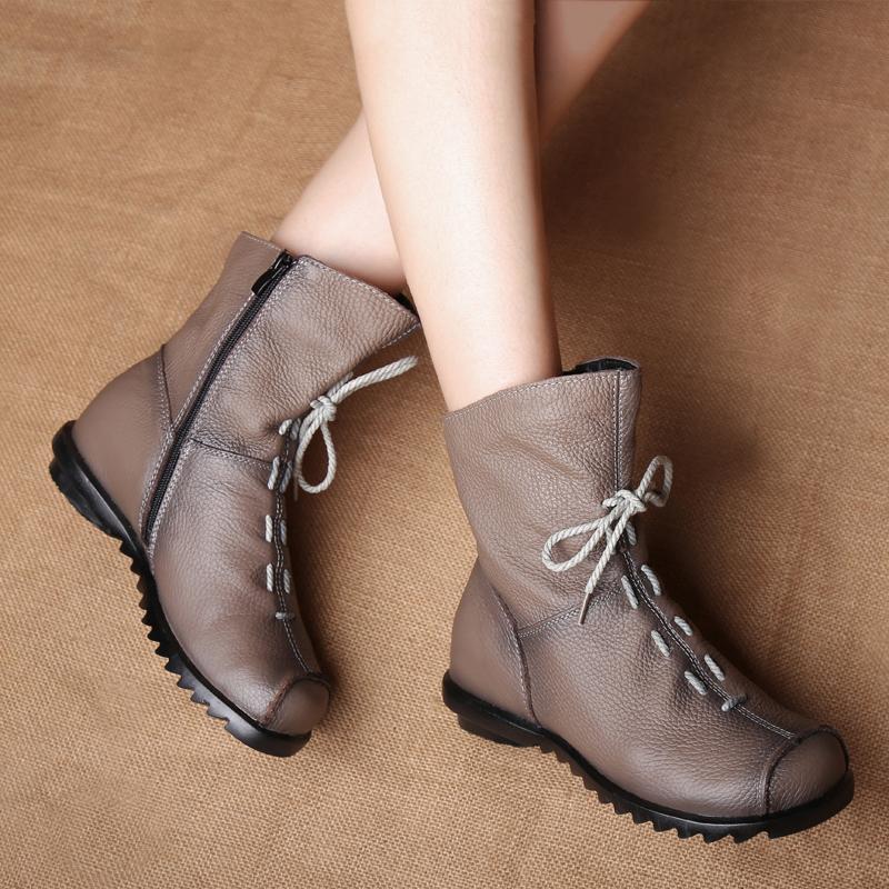 真牛皮舒适短靴