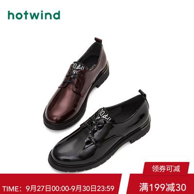 热风2018年秋季新款优雅时尚系带女士皮鞋中口低跟单鞋潮H02W8705