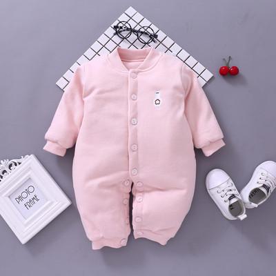 婴儿纯棉薄棉连体衣春秋冬宝宝哈衣爬服婴儿外出服0-3-6-12个月