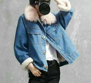 2017冬季新款 毛领牛仔外套潮 保暖加绒加厚短款时尚显瘦棉衣女9