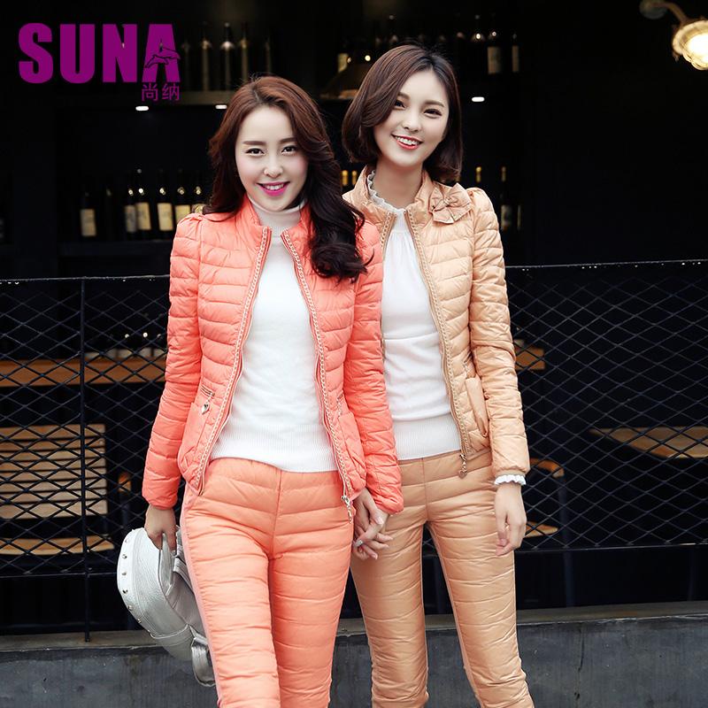 尚纳冬季韩版蕾丝修身保暖羽绒服羽绒裤套装 裸价清仓