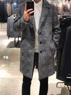18年冬款 ZIOZIA ANDZ韩国代购 韩版修身商务灰色羊毛呢大衣格子