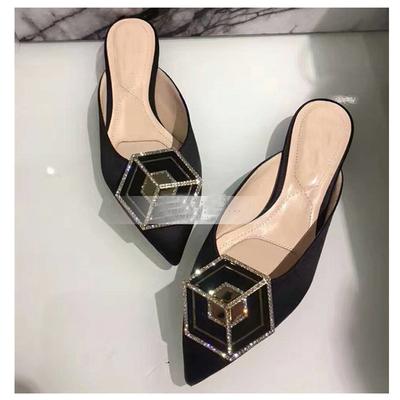 穆勒鞋女尖头包头凉鞋居家外穿带钻平底绸缎半包拖鞋大码40-43