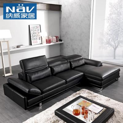 纳威黑色小户型现代简约黑色真皮沙发头层牛皮 时尚客厅家具RE317