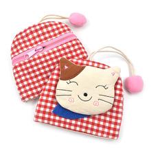 韩国布艺可爱女生大容量抽拉式钥匙包防刮创意零钱卡位可放公交卡