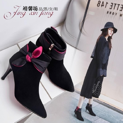 韩版羊皮短靴女高跟淑女细跟及踝靴尖头甜美侧蝴蝶结优雅马丁靴子