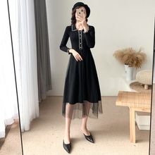 In autumn and winter of 2019, new-style women's dresses with skinny waists and skinny, well-known women's fragrance, light and mature temperament and knitted dresses