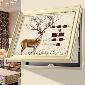 液压带框万年历电表箱装饰画带钟表可推拉电表盒装饰电源遮挡画