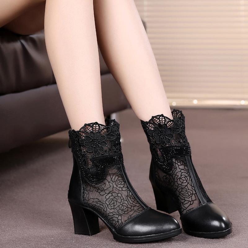女鞋短单靴粗跟