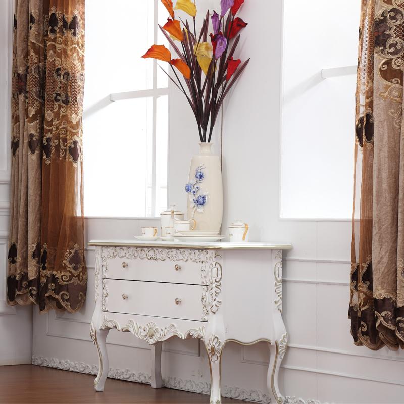 欧式储物柜带门实木厨房柜子新古典客厅餐边柜碗柜进门玄关柜定制