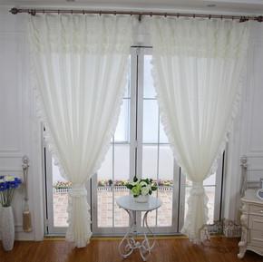 加厚白色窗纱主播背景客厅落地窗卧室飘窗短窗帘阳台隔断纯色纱帘