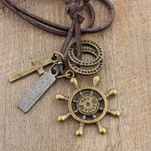 民族风加勒比海盗十字架船舵船锚吊坠男女牛皮绳项链毛衣链饰品