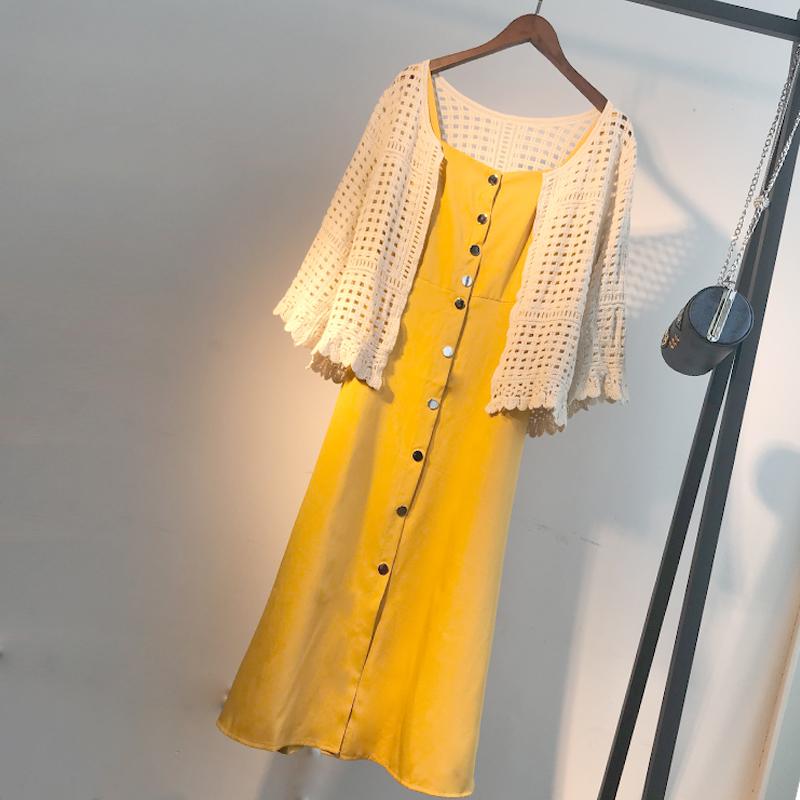 大码女装2019新款洋气显瘦遮肚连衣裙胖妹妹夏装减龄外套两件套装