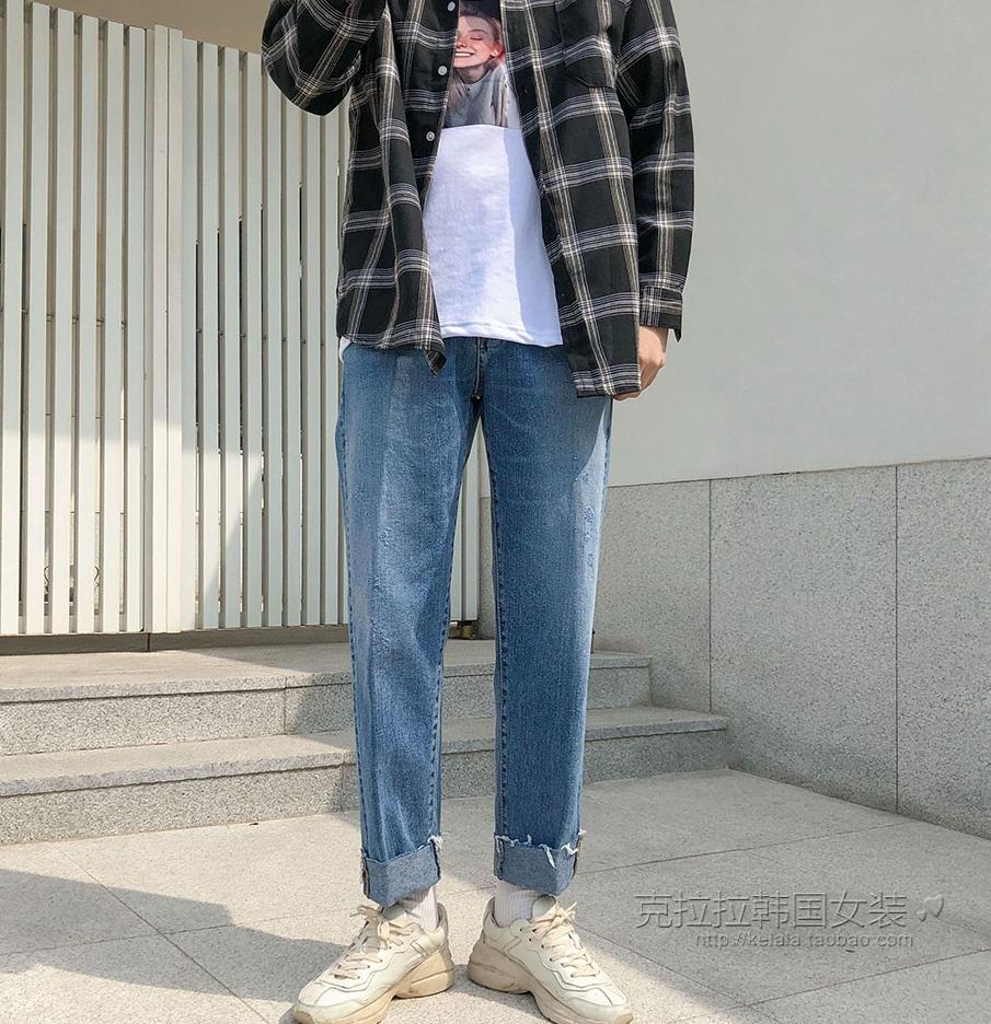 特价克拉拉韩国代购官网直邮正品卷边直筒牛仔裤男休闲潮流韩版春