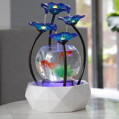陶瓷喷泉流水摆件客厅室内装饰创意小型桌面水循环玻璃缸乔迁礼物