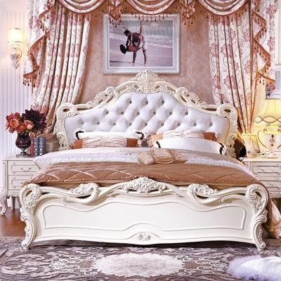 欧式床双人床白色公主床1.5米气动高箱床1.8米储物床婚庆大床法式品牌巨惠