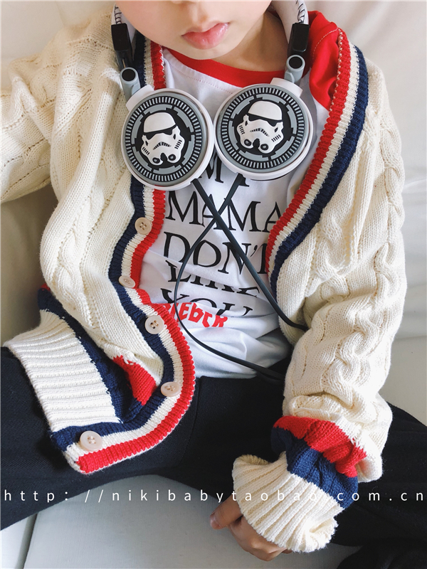 【口水小店】2018春装童装男童 复古配色针织衫儿童粗线毛衣开衫