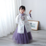 Han Dress Girls Chinese Wind, Spring and Autumn Suit Children's Dress Super Immortal Two-piece Dress, Ancient Dress, Embroidery and Rejuvenation