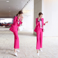 Korean fashion professional suit jacket, women's rosy red mid-long slim double-breasted suit and trousers two-piece suit
