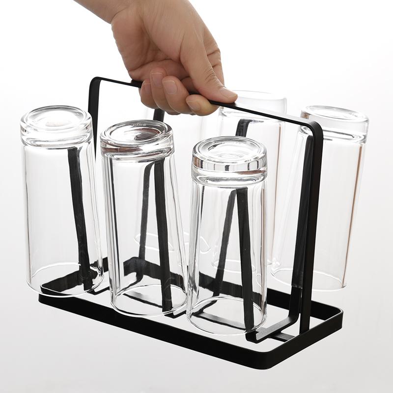 家用厨房创意沥水杯架玻璃杯架倒挂架子置物架茶杯6只杯家用套装