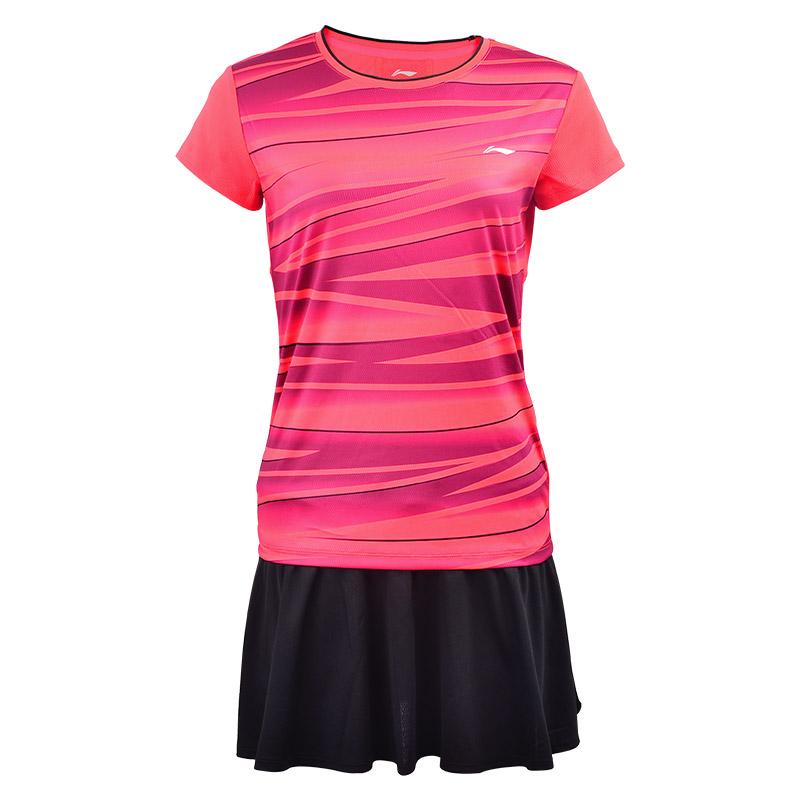 李宁羽毛球服男女款短袖短裤套装夏季速干运动套裙情侣训练运动服
