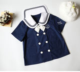 Two Kindergarten Sailors'Clothes with Polar Bear Short Sleeves and Short Sleeves