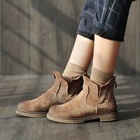 小耳出品冬季潮流加绒复古马丁靴平底女鞋圆头英伦风内增高短靴女