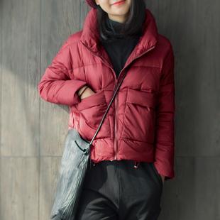 小耳出品新款酒红色上衣轻薄韩版修身短款冬季外套2017女士羽绒服
