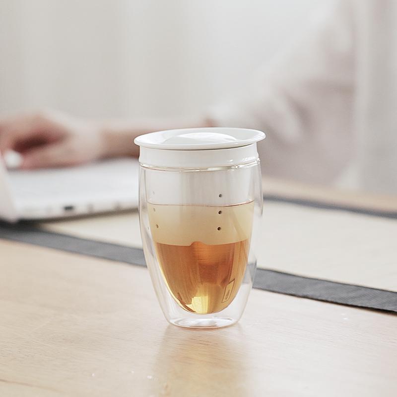 加厚耐热双层玻璃三件杯 花茶水杯子 带盖陶瓷过滤内胆马克杯茶杯