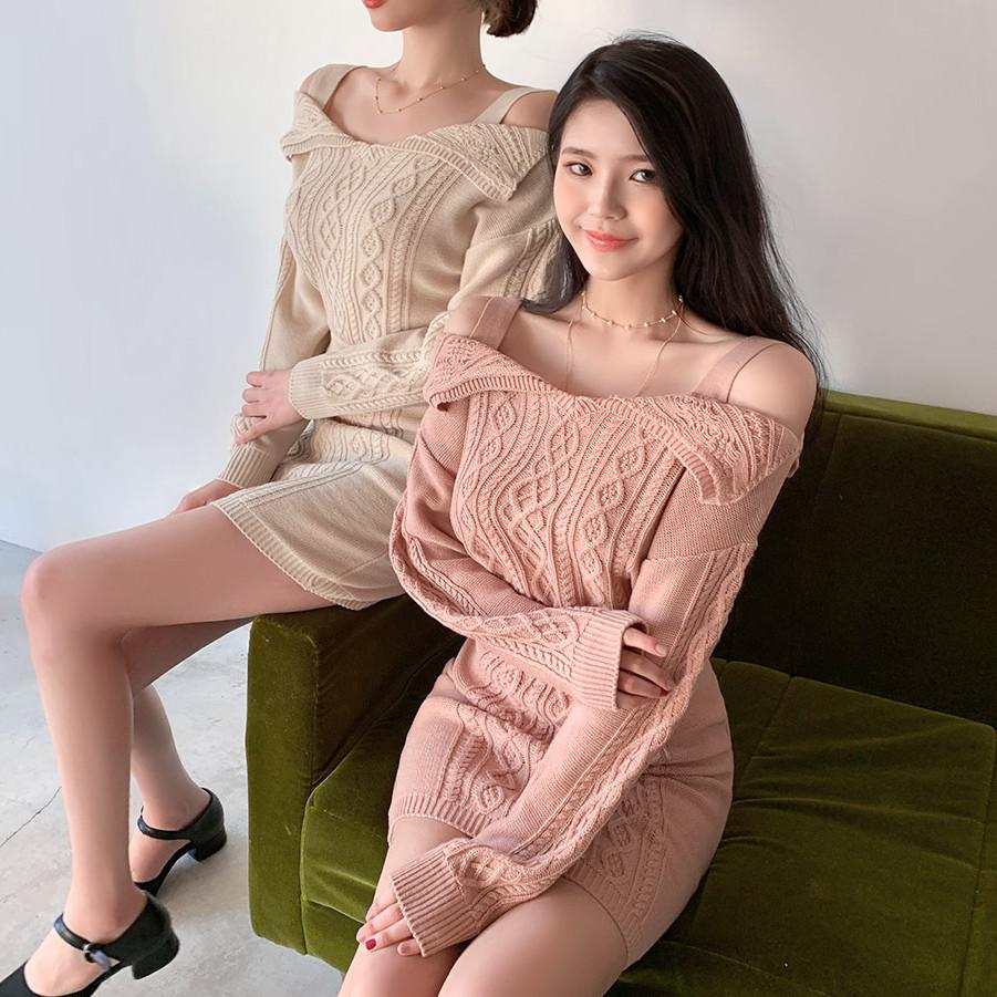 韩国直发2019春装新款Chuu可爱少女针织衫+半身裙时尚套装28902