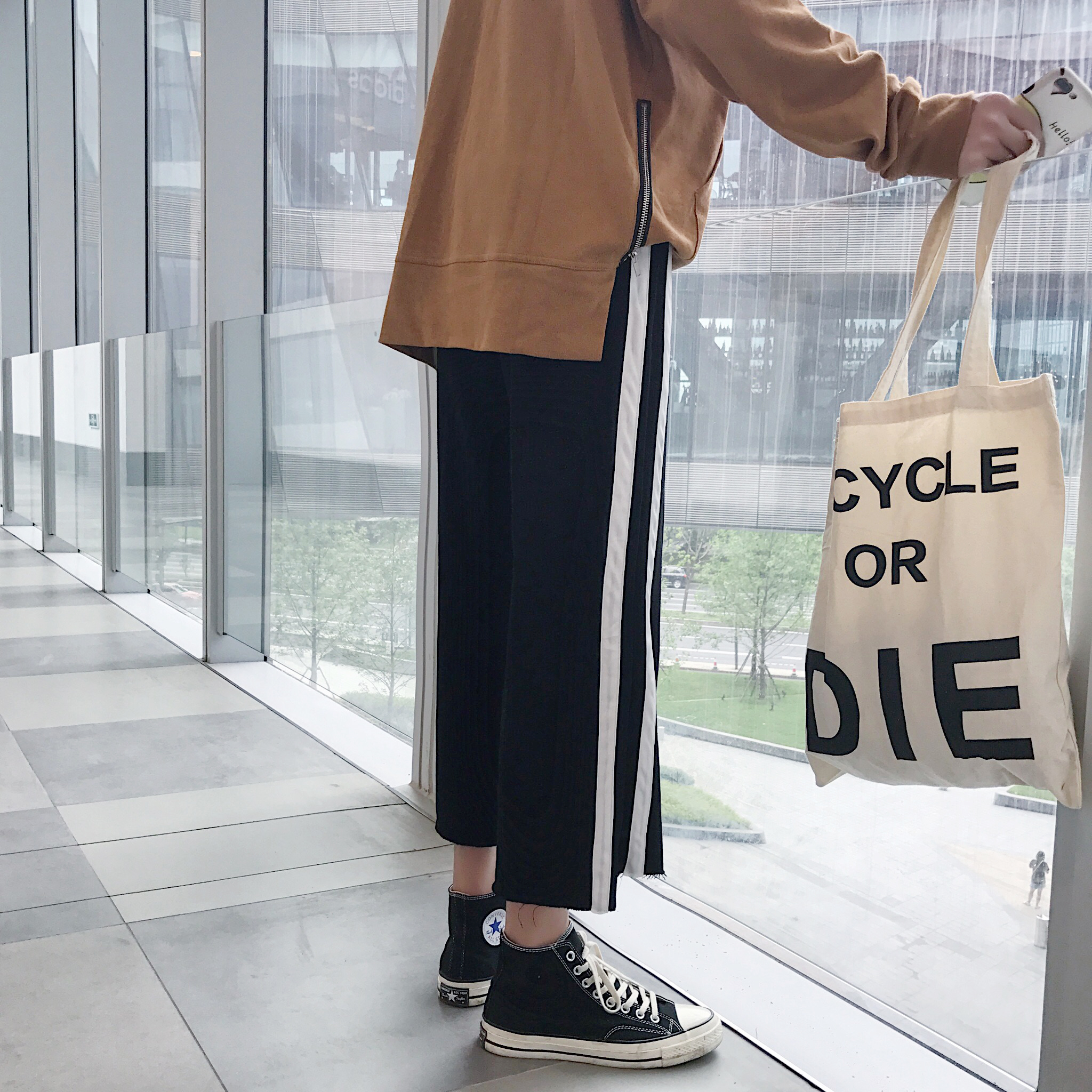 条纹阔腿休闲裤