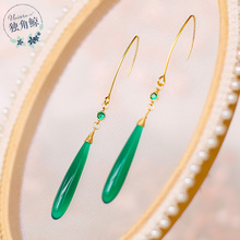 For example, the same style of palace costumes, water drops, temperament, female long, super fairy earrings, ancient wind, green chalcedony earrings, ear hooks.