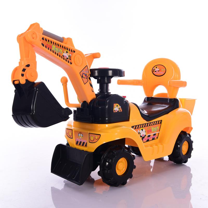 儿童电动挖掘机可坐可骑玩具大号钩挖机滑行推土工程车宝宝挖土机