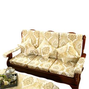加厚海绵实木红木质沙发坐垫带靠背中式冬季联绑椅子防滑沙发坐垫